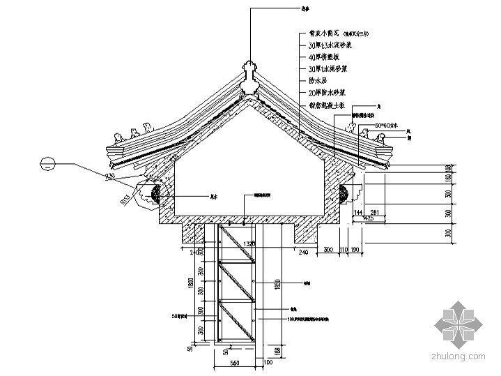 [北京]某四合院建筑施工图(经典仿古建筑)-常用檐口外墙图