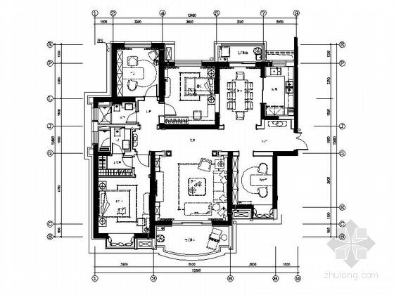 [河南]法式风格四居室样板房装修图(含效果)