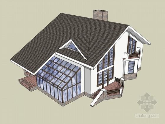 坡顶住宅SketchUp模型下载