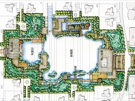 [山东]新中式风格仿江南水城居住区中心花园景观设计方案