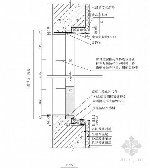 建筑施工铝合金门窗后塞法施工工艺(节点详图)