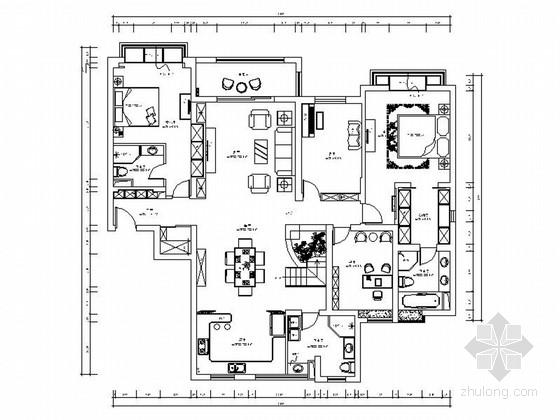 [上海]豪华欧式风格两层别墅施工图(含客厅效果图)