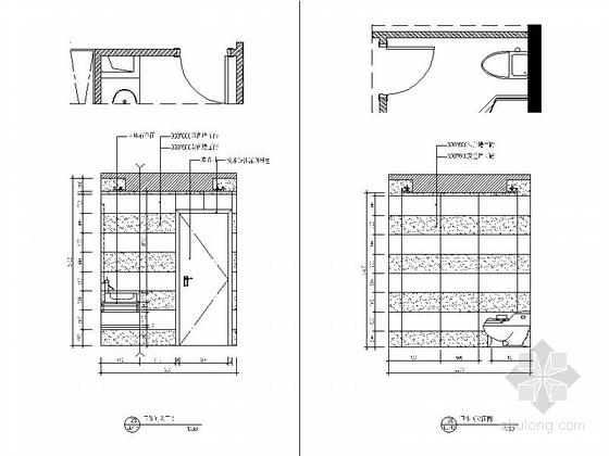 [浙江]88平现代两居室样板房全套施工设计施工图(含预算效果图软装方案推荐!)-[浙江]88平现代两居室样板房全套施工设计施工图卫生间立面图