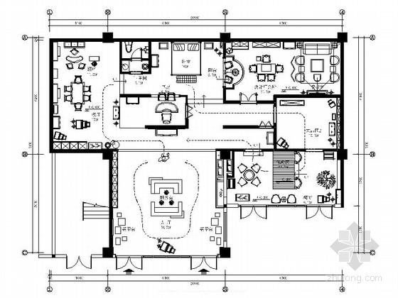 [福建]高档精致怀旧家居工艺品展厅设计CAD装修图(含效果)