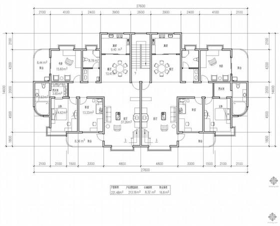 板式多层一梯两户二室一厅一卫户型图(221/221)
