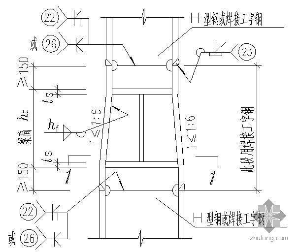 某变截面工字形中柱的工厂拼接及当框架梁与柱刚性连接时柱中设置水平加劲肋的节点构造详图(一)