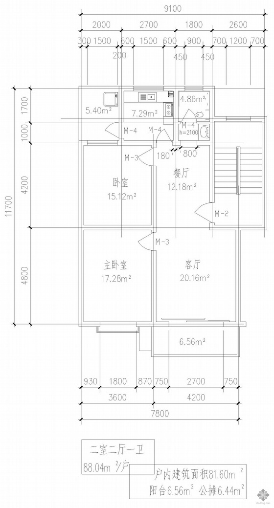 板式多层单户二室二厅一卫户型图(88)