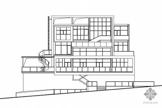 某三层坡地小别墅建筑结构施工图(有内庭)