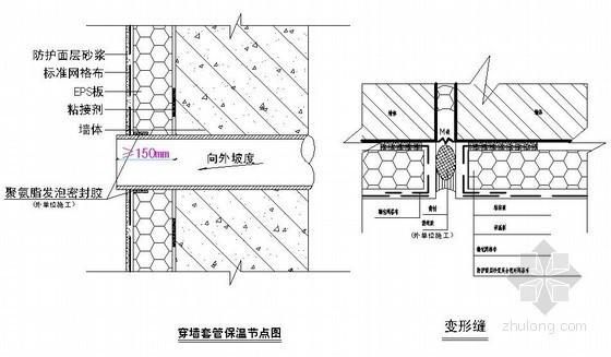 外墙外保温穿墙套管、变形缝施工示意图