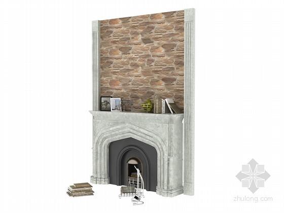 欧式壁炉墙面3D模型下载