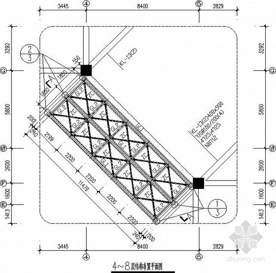 8度区多层钢框架连廊结构施工图
