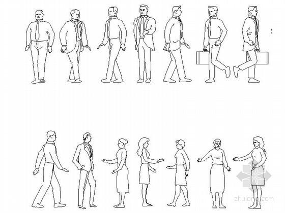 各种姿势人物CAD图块下载