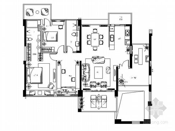 [深圳]新中式设计风格三居室精装样板房室内竣工图