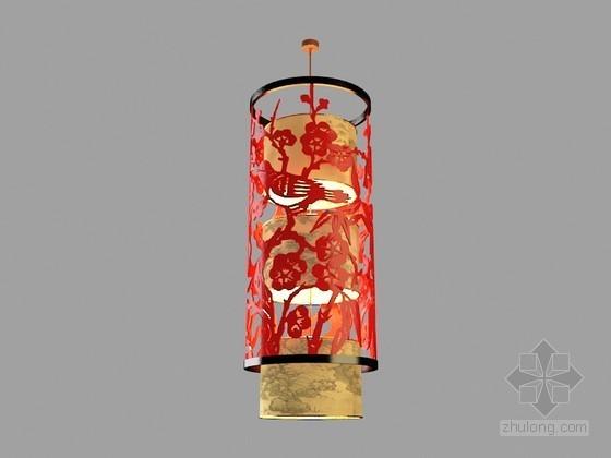 中式柱形吊灯3D模型下载