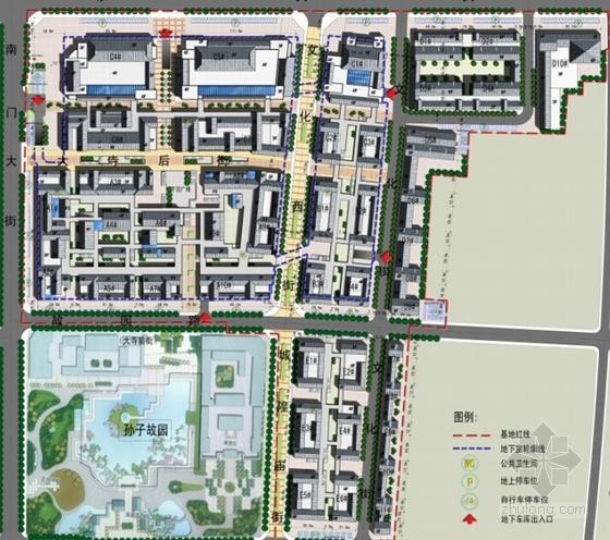 [山东]仿古风格步行商业街概念性修建规划设计方案文本(含CAD)-仿古风格步行商业街概念性修建规划总平面图