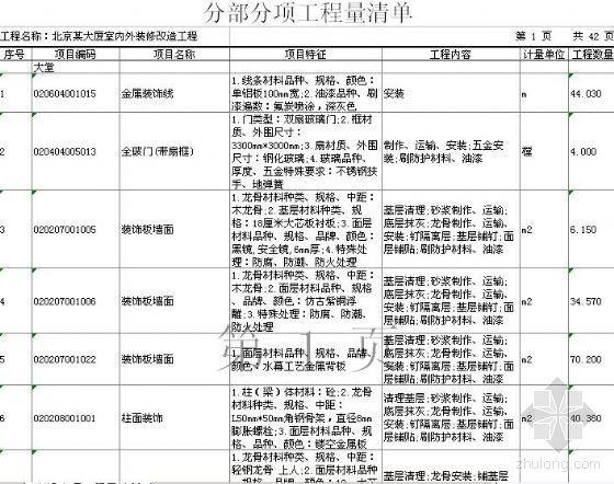 装饰改造工程清单资料下载-北京某大厦室内外装饰改造工程清单