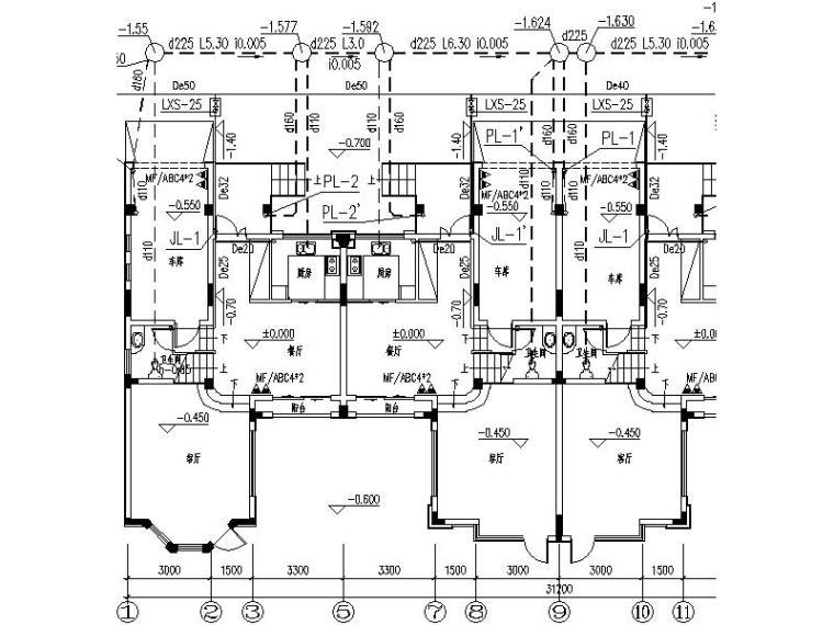 恒茂·天鹅堡三层别墅给排水设计施工图(CAD,4张)