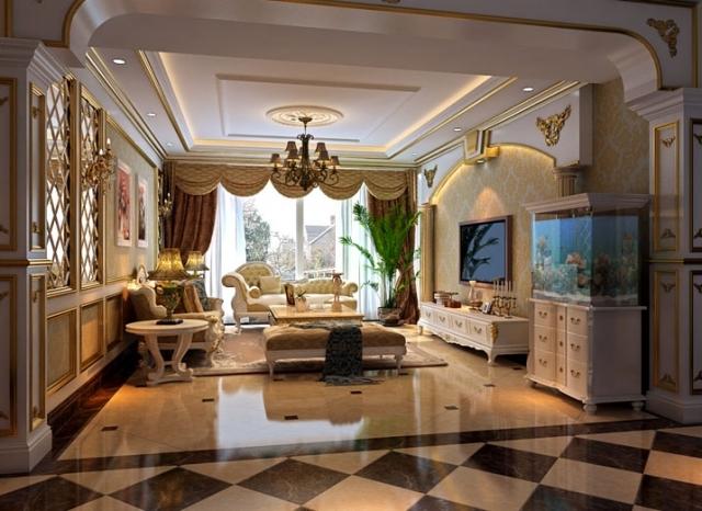 烟台实创装饰-世茂海湾-240平欧式调豪华四居室