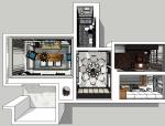 新中式风格公寓室内设计成套SU模型