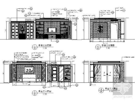 欧式古典卧室三立面图