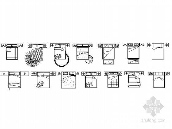 高档现代床平面CAD图块下载