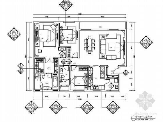 某集团高档三居室样板房室内设计装修图