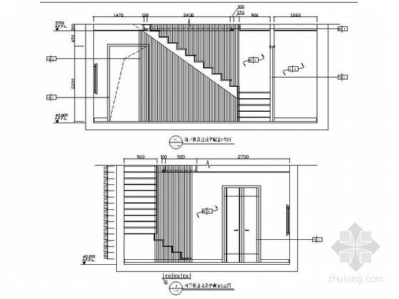 精品时尚简约现代三居室室内装修施工图(含效果图)地下休息室及储藏室立面图