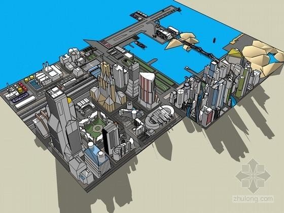 港口城市SketchUp模型下载