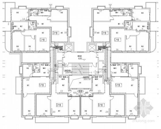 17层商业住宅项目散热器采暖系统设计施工图(对称四户型)