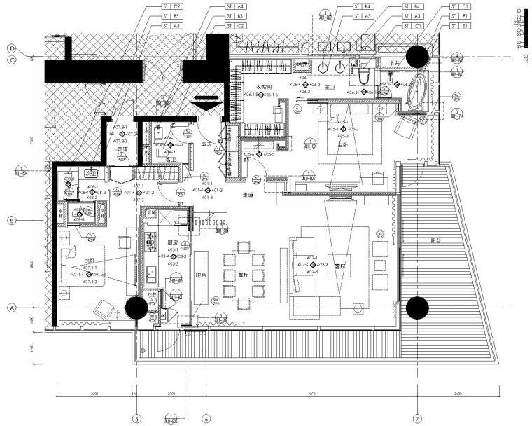 [李玮珉]深圳湾一号-豪华两居室样板间室内装修设计施工图(CAD)