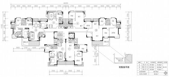 塔式高层一梯六户户型图(62/62/113/113/76/76)