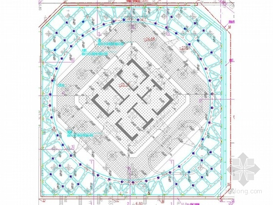 [广东]30米深基坑地下连续墙结合四道环形内支撑支护施工图