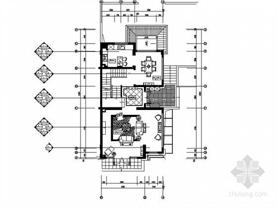 [上海]某美式三层别墅样板间室内装修施工图(含效果)