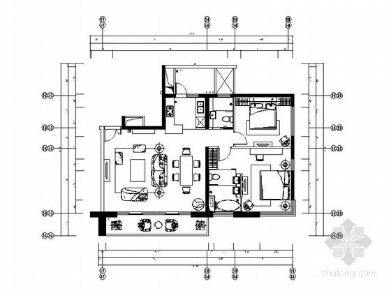 [无锡]传统美式风格两居室小空间室内设计装修图纸(含物料清单及家具配置方案)