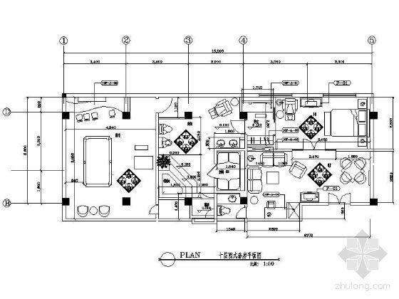 某西式套房平面图