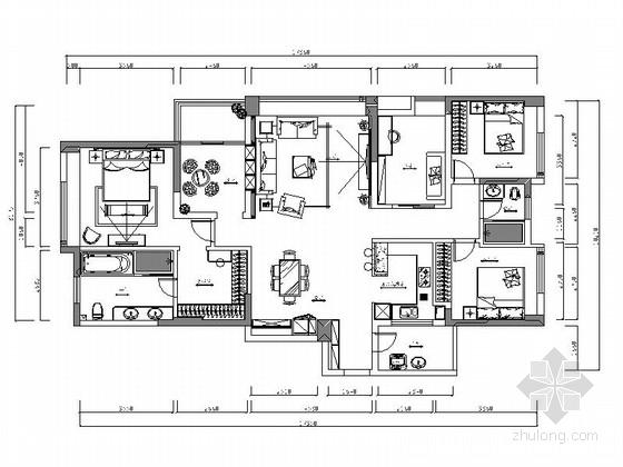 [徐州]高端景观社区简欧风格五居室样板房装修施工图(含效果)