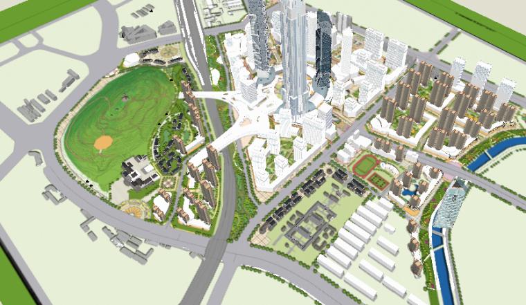 办公住宅区一体化城市设计方案sketchup模型-办公住宅区一体化城市设计2