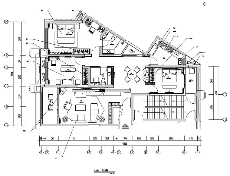 淡黄优雅|现代简约小清新样板间设计施工图(附效果图)