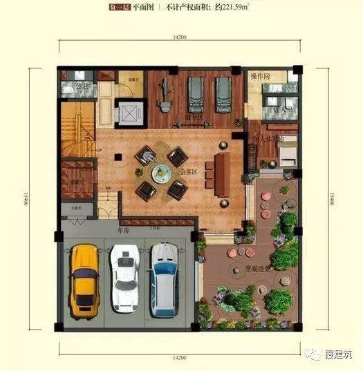 万科罕见的270㎡5房6卫双拼户型,庭院高达228㎡_14
