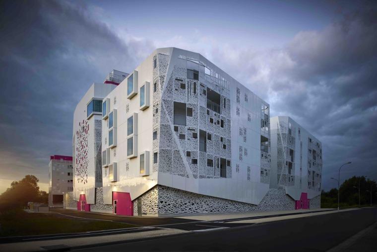 法国花式隔热混凝土的公寓楼外部实景图 (1)