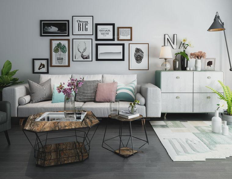 灰粉色调现代极简风格客厅