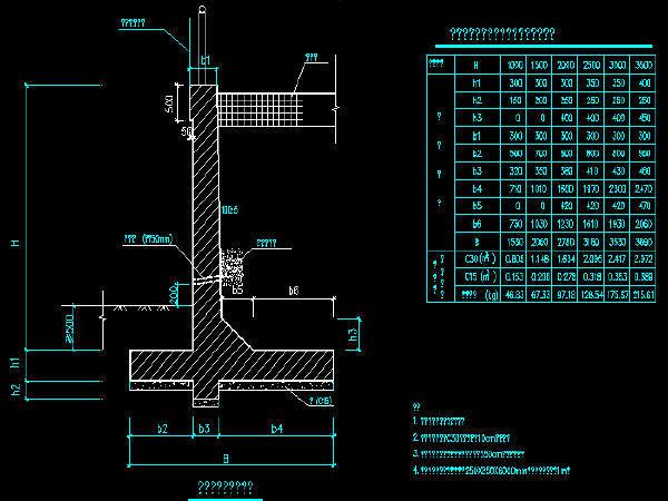 L型钢筋混凝土挡土墙设计图