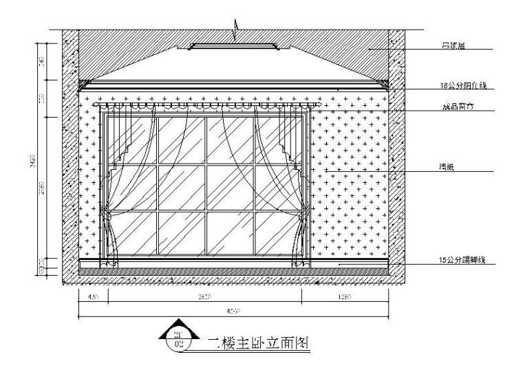 [江苏]500平美式古典别墅设计CAD施工图(含效果图)-【江苏】500平美式古典别墅设计CAD施工图(含效果图)立面图