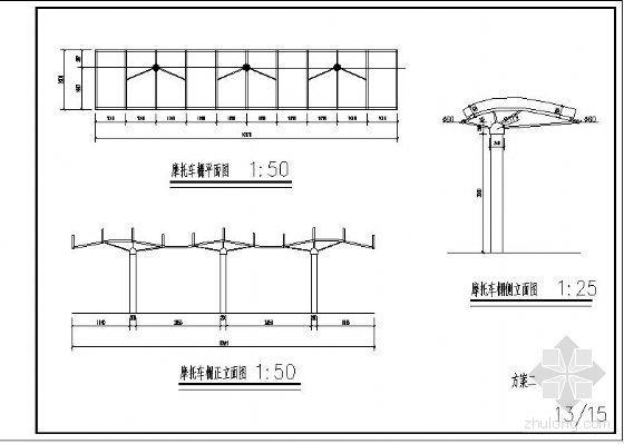 某家电城摩托车棚结构方案图-2