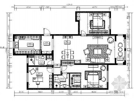 [青岛]原创精品新中式风格三居室样板间CAD装修施工图(含方案)