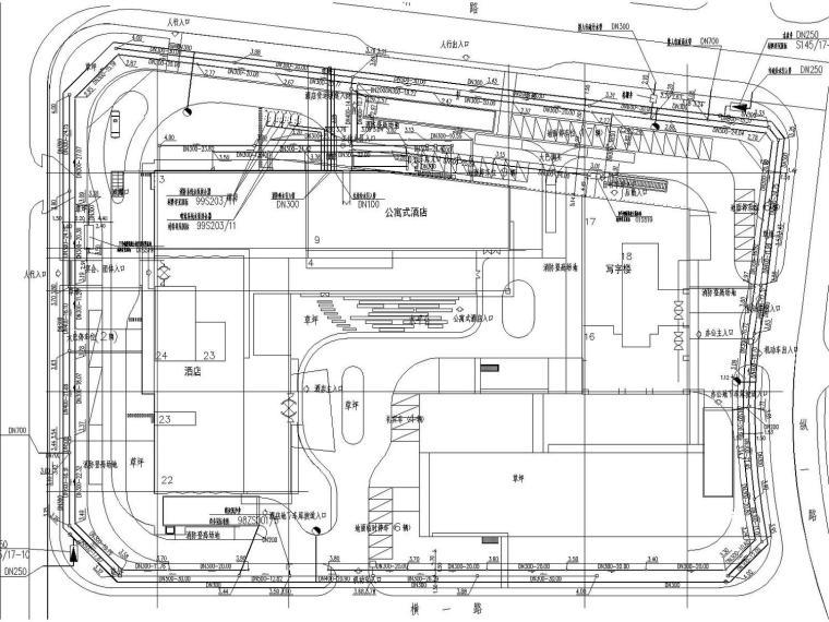 [上海]高层酒店办公公寓楼给排水消防施工图设计