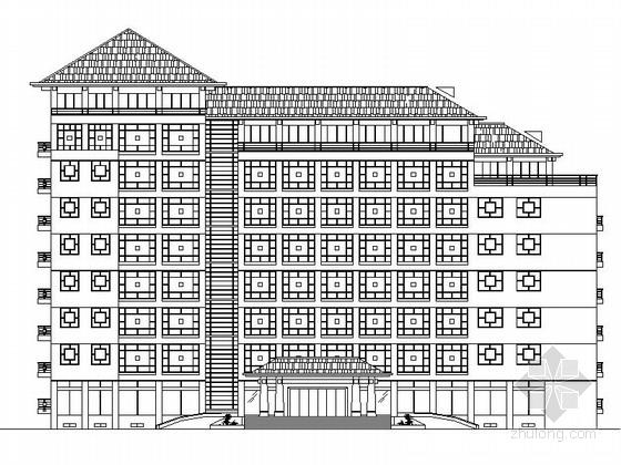 七层坡屋顶机关办公大楼建筑设计方案图