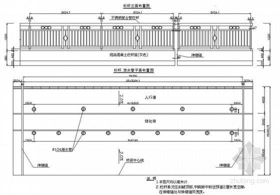 76m预应力混凝土铰接斜腿刚构人行道栏杆及泄水管平面布置节点详图