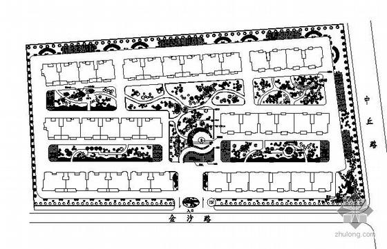 某小区绿化设计平面图加效果图