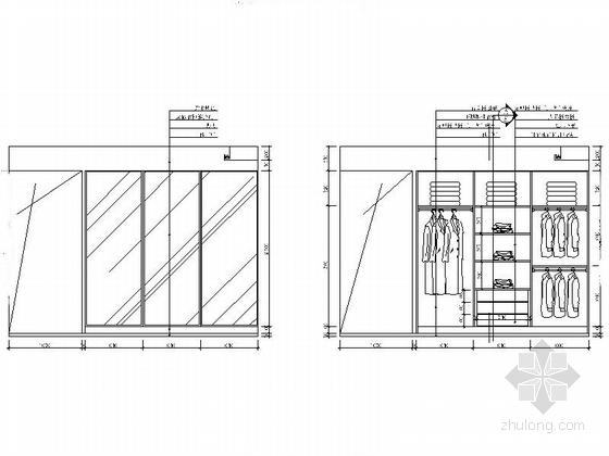 [湖南]高档样板房三居室设计CAD施工图(含效果)衣柜立面图